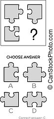 IQ test. Logical tasks composed of puzzles shapes - IQ test....