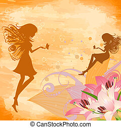 flower fairies on the grunge background