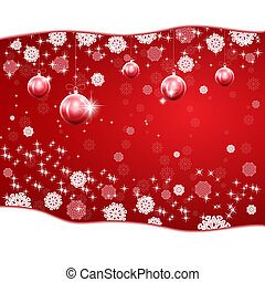 Christmas red background with stars and snowflakes.