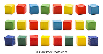 Toy Blocks, Wooden Cube Bricks Cubics Set, White Isolated