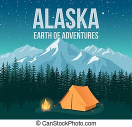 Alaska national park wildlife travel vintage poster with mountains and pines vector illustration.