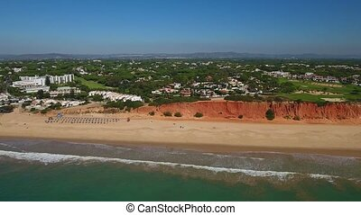Aerial. Magical beaches shores Vale de Lobo. Portugal...