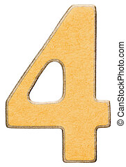 4, four,numeral of wood combined with yellow insert, isolated on white background