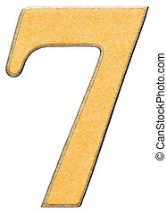 7, seven,numeral of wood combined with yellow insert, isolated on white background