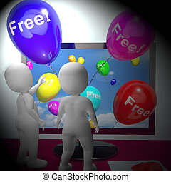 Balloons With Free Showing Freebies 3d Rendering