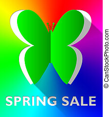 Spring Sale Butterfly Shows Bargain Offers 3d Illustration -...
