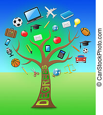 Degree Tree Shows Degrees And Qualifications 3d Illustration