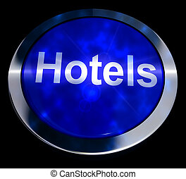 Blue Hotel Button For Travel 3d Rendering - Blue Hotel...