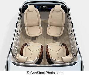 Rear view of self-driving car cutaway image. Front seats...
