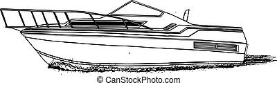 sport fish no tower cs.eps - High speed offshore boat vector