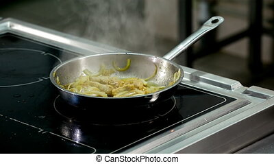 roasting and cooking meat in a frying pan