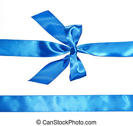 Blue celebratory bow with a blue tape on a white background