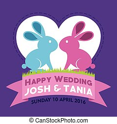 wedding invitation with bunny illustration