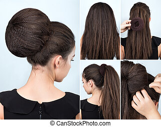 Hairstyle tutorial bun with chignon - Hairstyle tutorial...