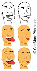Bald man faces with tongue sticking out