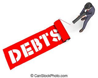 Debts Paint Represents Bad Debt 3d Rendering - Debts Paint...