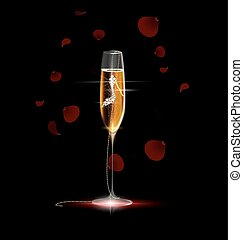 golden shoe in the glass - black background, the large glass...