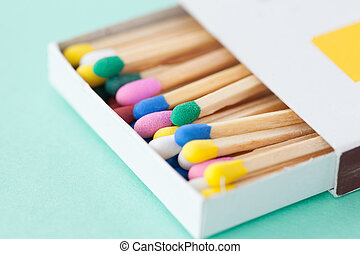 Colorful wooden matches - Wooden matches in pastel colors on...