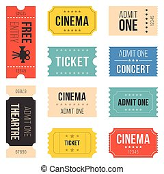 Ticket set for cinema, concert, vintage style, flat design