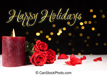 happy holidays - festive background with golden lights and...