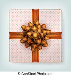 Orange ribbon bow. EPS 10 - Wrapped brown present box with...