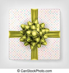 Yellow bow gift box top view. EPS 10 - Yellow bow gift box...