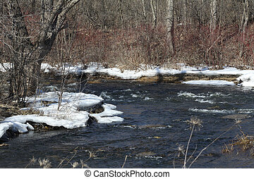 Spring thaw of a small stream