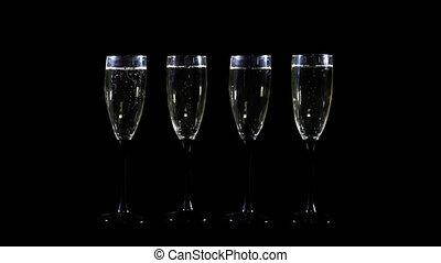 Four of-champagne glasses vith alpha Chunnel - Foer...