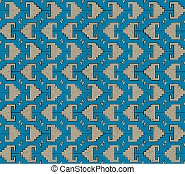 Antique seamless background image of royal blue sawtooth...