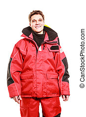 Young man in waterproof clothing. Male model in protective...