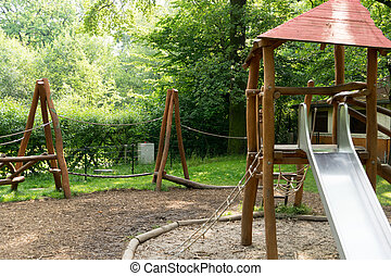 Playground with sandpit and slide