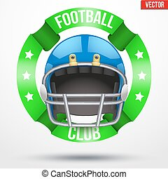 American Football Label. Helmet with ribbons. Sporting...