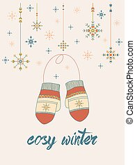 cosy winter card with mittens and snowflakes in tribal style on pale-pink tone background. season design.