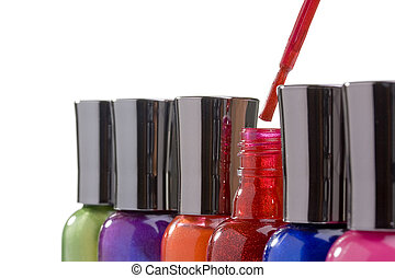 Nail polish bottles on a white background