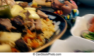 Pilaf (plov)- eastern dish. - The kitchen in the restaurant....