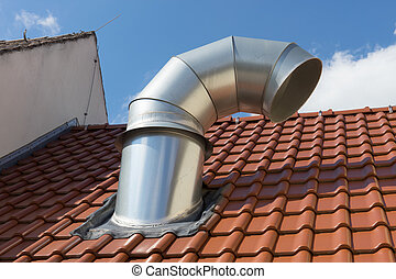 vent pipe - House roof with large vent pipe