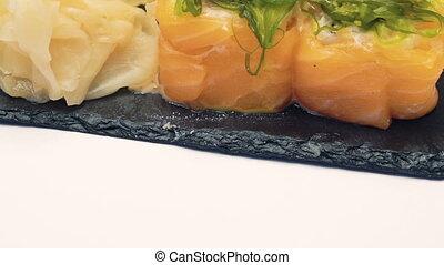 Sushi dish on white background. Full HD