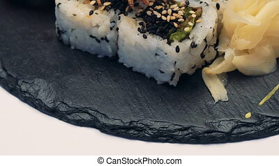 Sushi dish on white background. Full HD