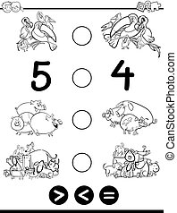 greater less or equal coloring book - Black and White...