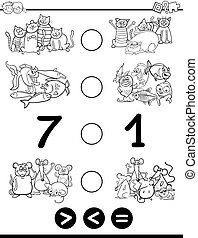 greater less or equal coloring page - Black and White...
