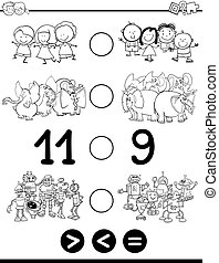 greater less or equal for coloring - Black and White Cartoon...