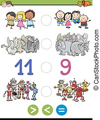 greater less or equal for kids - Cartoon Illustration of...