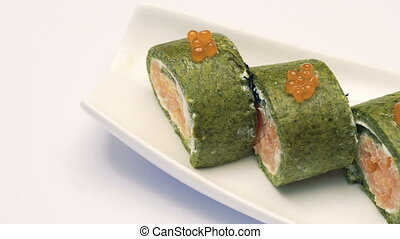 Portion of delicious caviar sushi. Full HD