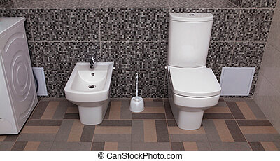 white toilet bowl and bidet