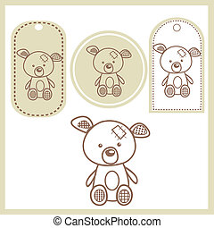 Baby bear labels,illustration