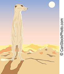 meerkat - a hand drawn illustration of a meerkat in the...