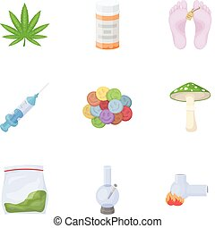 Drugs set icons in cartoon style. Big collection of drugs...