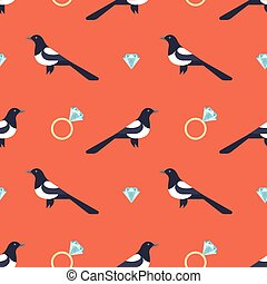 Vector seamless pattern with luxury golden rings and magpies.