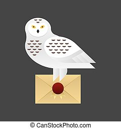 Vector illustration of owl holding a holding a letter