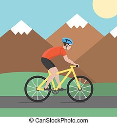 Vector illustration of cyclist on bike on background with mountains; biker and bicycling; sport and exercise.